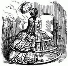 La moda crinolina estará marcada por un elemento muy característico que será la estructura de acero de las faldas que daban rigidez y era accesible para cualquier clase social.