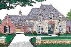 European Style House Plan - 4 Beds 4.5 Baths 3769 Sq/Ft Plan #310-554 Exterior - Front Elevation - Houseplans.com