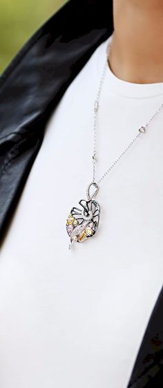 Fish Pendant Necklace Sterling Silver Colored Yellow Gren Pink Cubic Zirconia Crystals Black Rhodium Plated | Unusual Contemporary Bold Quirky Jewelry Online - Trezoro Jewellery