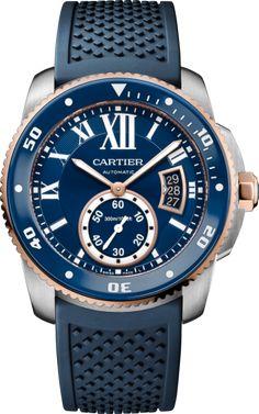 Montre Calibre de Cartier Diver Bleue 42 mm, or rose, acier, caoutchouc