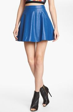 ASTR Faux Leather Skater Skirt available at #Nordstrom. I'm currently jones'n on this skirt. I see a blue blouse with my red pumps.