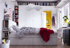 Ikea brimnes bed frame with drawers and headboard with shelves