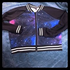 Galaxy Jacket . Wore once for two hours It's cute This is a Galaxy Jacket , it zips and I wore it less then two hours . It's really cute but , I buy too much stuff . It's Perfect and ready for the next closet and Posher . Please view all photos , front and back . It's adorable ... This will make a great Holiday gift . Brand NEWlisting ..  Rue 21 Jackets & Coats Trench Coats