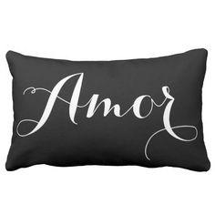 Black & White Calligraphy Amor Pillow