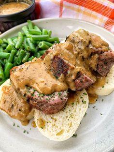 Pork Tenderloin with Mustard Cream Sauce - The Tipsy Housewife Sauce For Pork Tenderloin, Pork Tenderloin Medallions, Pork Tenderloin Sandwich, Mustard Pork Tenderloin, Pork Tenderloin Recipes, Pork Recipes, Game Recipes, Sauce For Pork Roast, Steak