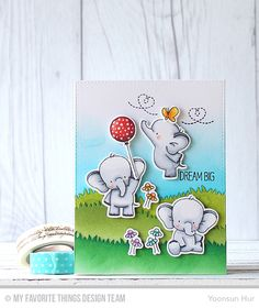 Adorable Elephants, Adorable Elephants Die-namics, Grassy Hills Die-namics - Yoonsun Hur  #mfstamps