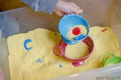 You will love this Alphabet Sift and Find activity! A combination of literacy and sensory fun mixed together in a simple indoor activity that kids love.