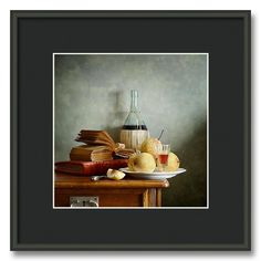 Red Wine And Asian Pears - Fruit on the Table - Still life photography with fresh fruits in a vase on the table - http://pixels.com/profiles/nikolay-panov.html?tab=artworkgalleries&artworkgalleryid=716961