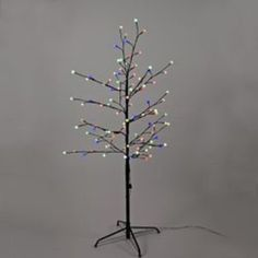 4' LED Pre-Lit Brown Gumball Artificial Christmas Twig Tree- Multicolored Twinkle Lights