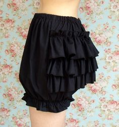 Items similar to SALE- Black cotton lolita bloomers with tiered ...