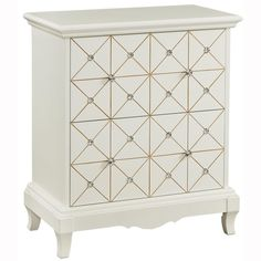 Hand Painted White and Gold Finish Accent Chest