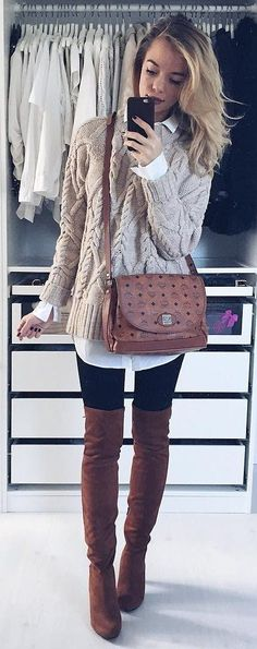 #winter #fashion /  Grey Knit / White Shirt / Black Leggings / Burgundy Velvet OTK Boots