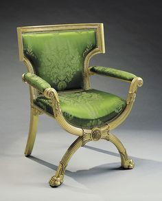 Armchair. Morel & Seddon (cabinet maker) 1828. Carved and gilded mahogany, silk damask | 99.1 x 80.0 x 64.8 cm