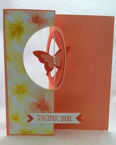 Stampin' Up! ... handmade flip card from All That Scrap: Circle Card Thinlits Die- Spinner Card with spinning butterfly ... tutorial