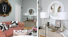 glamorous gray pink room mirrored console table