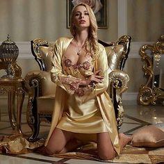 Silk Blend Gorgeous Women Sleepwear Sleep Dress Slip Lace Robe Gown Sets Gifts