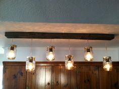 Mason Jar And Reclaimed Wood Track Lighting: 42 Inches Long Jars