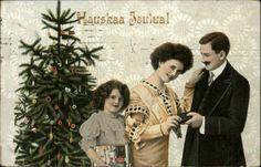CHRISTMAS Hauskaa Joulual Family w Christmas Tree c1910 Postcard