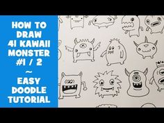 How To Draw 41 Kawaii Doodle Monsters - Easy Doodle Tutorial for Beginners This video is about how to draw 41 Kawaii Monsters, cute characters for doodlin. Doodle Monster, Monster Drawing, Kawaii Doodles, Cute Doodles, Bullet Journal Icons, Bullet Journals, Art Journals, Doodle Art For Beginners, Easy Animal Drawings