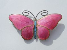 Art Nouveau - Broche Papillon - Argent émaillé Rose et Bleu - Marius Hammer - Années 1900
