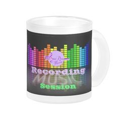 MoonDreams Music Recording Session Frosted Glass Mug by #MoonDreamsMusic #GlassMug #FrostedMug #RecordingStudio