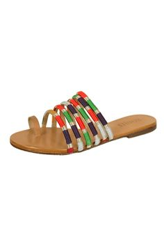 This multi color flat sandal by Schutz shoes features a natural leather toe ring.  It will add the perfect pop of color to your summer wardrobe.  Multi Toering Sandal by Schutz. Shoes - Sandals - Flat Pennsylvania