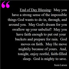 End of Day Blessing by Susie Larson