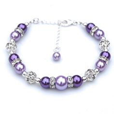 Bridesmaid Jewelry, Purple and Lavender Pearl Rhinestone Bracelet, Bridesmaid Gifts, Bridal Party, Bling Bracelet by AMIdesigns on Etsy