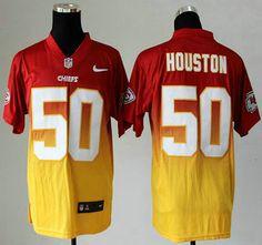 Nike Kansas City Chiefs Jersey #50 Justin Houston Drift Fashion II Red With Yellow 2013 Elite Jerseys