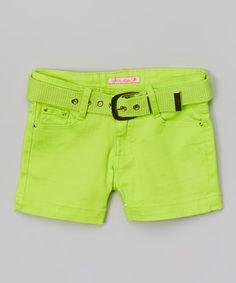 Look at this #zulilyfind! Lime Green Belted Shorts - Girls by Cutie's Fashions #zulilyfinds