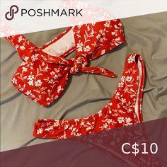 Red Floral Bikini Super cute red floral bikini. Ties in the front Zaful Swim Bikinis