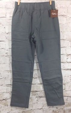 NWT TEA Collection French Terry Playwear Pants Sz 7 Boy's Solid Gray 100% Cotton #TeaCollection #CasualPants #Everyday