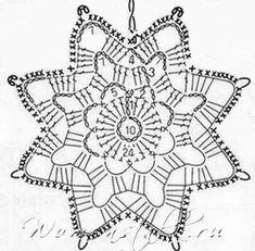 Tina's handicraft : 23 patterns for christmas ornament Crochet Snowflake Pattern, Crochet Stars, Crochet Motifs, Christmas Crochet Patterns, Crochet Snowflakes, Crochet Diagram, Thread Crochet, Crochet Doilies, Crochet Flowers