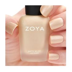Zoya Sue - Sue by Zoya can be best described as a soft champagne gold with a multi-hued oyster shell pearl fleck in the traditional MatteVelvet finish. Color Family - Nude ; Finish - Matte ; Intensity - 5 ( 1 = Sheer - 5 = Opaque ) ; Tone - Warm.
