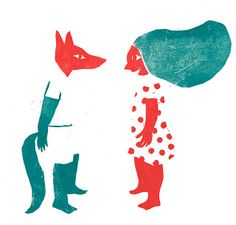 .. . .. . . .. blog d'Evelyne Mary . ... . .. . .. .Red riding hood and wolf - linogravure by Evelyne Mary.