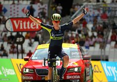 #LaCourse Annemiek van Vleuten of The Netherlands and Orica - Scott celebrates as she crosses the line to win during stage two of La Course 2017 on July 22, 2017 in Marseille, France.