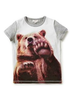 100% cotton jersey short sleeeve tee with all over front panel digi bear print tee and contrast sleeves