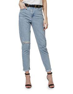 Women | Jeans | MOTO Bleach Rip Mom Jeans 30 Inch Leg | Hudson's Bay