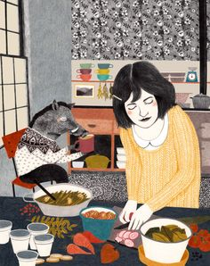Lieke van der Vorst artwork - reminds me of preparing a meal for the kids.  Love the image of the creature in a highchair