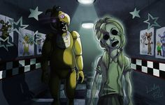 FNAF - Chica and her ghost by LadyFiszi.deviantart.com on @DeviantArt