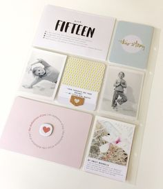 POCKET SCRAPBOOK LAYOUT ~ Love the simple photos, embellishments & journalling.