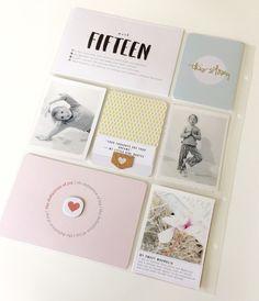 POCKET SCRAPBOOK LAYOUT ~ Love the simple photos, embellishments & journalling.