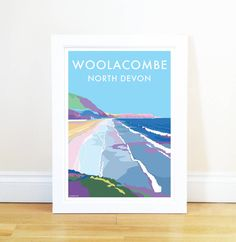 Beautiful modern take on the old railway posters of the by artist Becky Bettesworth. Featuring North Devon beauty spots and the highlights of coastal life. Available in poster size and as an print mounted ready for framing! Railway Posters, Travel Posters, Seaside Holidays, Childhood Games, North Devon, Beach Art, Vintage Fashion, Vintage Style, Vintage Posters