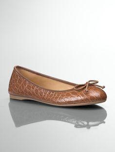 Talbots - Jilly Croc-Embossed Leather Ballet Flats | Flats | Medium