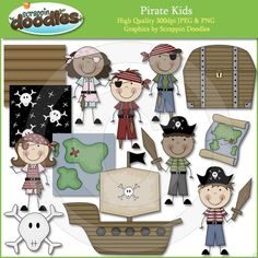Pirate Kids Clip Art by ScrappinDoodles on Etsy Pirate Theme, Pirate Party, Scrapbooking Digital, Scrapbooking Ideas, Pirate Kids, Classroom Themes, Classroom Organization, Cute Clipart, Embroidery Designs