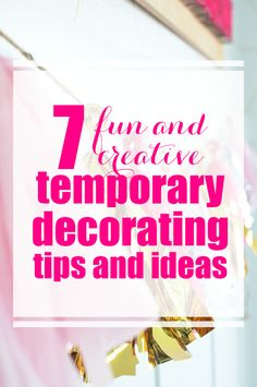 Just because you can't paint where you live, doesn't mean you can't make it feel like home! Check out these 7 fun and creative temporary decorating tips and ideas! Decorating Tools, Decorating On A Budget, Trendy Home Decor, Diy Home Decor, Italian Home Decor, Tight Budget, Feeling Overwhelmed, Cool Diy Projects, Being A Landlord