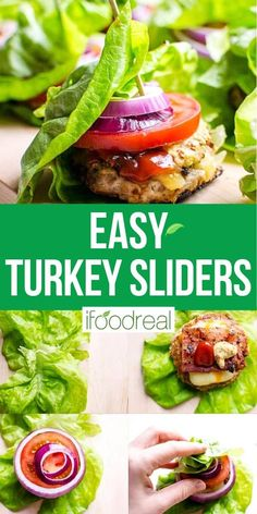 These Healthy Turkey Burger Sliders are fast, juicy and flavourful. With a bit of bacon, cheese and traditional fixings, everyone will love these mini burgers wrapped in lettuce. Healthy Turkey Recipes, Low Carb Dinner Recipes, Ground Turkey Recipes, Clean Eating Recipes, Real Food Recipes, Cooking Recipes, Turkey Burger Sliders, Best Turkey Burgers, Mini Burgers