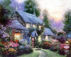 Thomas Kinkade Julianne's cottage painting is shipped worldwide,including stretched canvas and framed art.This Thomas Kinkade Julianne's cottage painting is available at custom size. Belle Image Nature, Thomas Kinkade Art, Thomas Kinkade Disney, Kinkade Paintings, Thomas Kincaid, Art Thomas, Cottage Art, Cottage House, Beautiful Paintings
