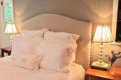 DIY: Pottery Barn inspired upholstered/nailhead trim headboard. Drop cloth from Home Depot & nails from Masco Fabrics.