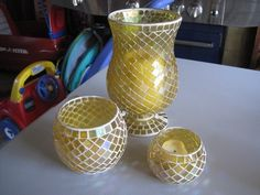 Glass Candle Holders Centerpieces   Yellow Glass Mosaic Candle Holder Centerpieces
